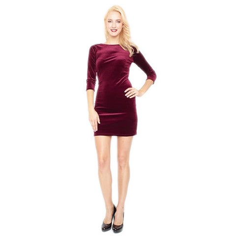 Women's Elbow Sleeve Stretch Velvet Fitted Dress