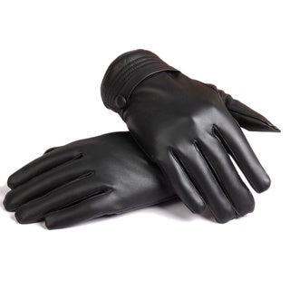 Women's Leather Fleece Touch Screen Gloves