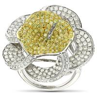 Luxurman 14k White Gold 3 5/8ct TDW Natural Yellow Diamond Flower Ring