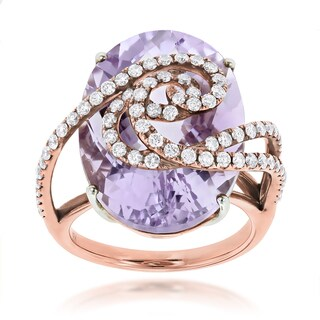 Luxurman 14k Rose Gold Amethyst 1 1/10ct TDW Diamond Ring (F-G, VS1-VS2)