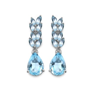 Olivia Leone 5.20 Carat Genuine Blue Topaz .925 Sterling Silver Earrings