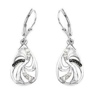 Olivia Leone 0.25 Carat Genuine Black Diamond and White Diamond .925 Sterling Silver Earrings