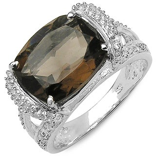 Malaika 4.68 Carat Genuine Smoky Quartz and White Topaz .925 Sterling Silver Ring