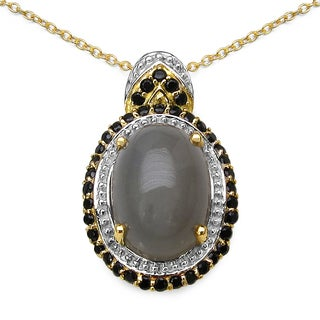 Malaika 14K Yellow Gold Plated 7.54 Carat Genuine Grey Moonstone and Black Spinel .925 Sterling Silver Pendant