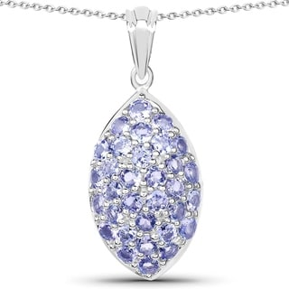 Link to Olivia Leone 3.20 Carat Genuine Tanzanite .925 Sterling Silver Pendant Similar Items in Necklaces