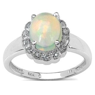 Malaika 1.30 Carat Ethiopian Opal and White Topaz .925 Sterling Silver Ring