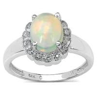 Malaika 1.30 Carat Ethiopian Opal and White Topaz .925 Sterling Silver Ring