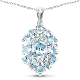 Olivia Leone 10.06 Carat Genuine Blue Topaz .925 Sterling Silver Pendant