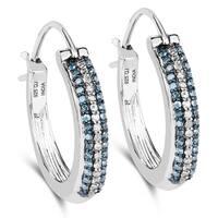 Malaika 0.52 Carat Genuine Blue Diamond and White Diamond .925 Streling Silver Earrings