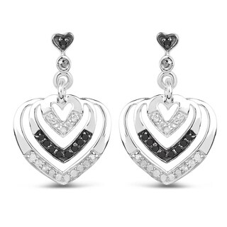 Olivia Leone 0.37 Carat White and Black Diamond Earrings in .925 Sterling Silver