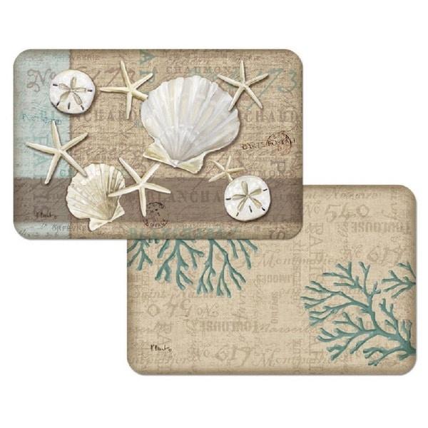 Counterart Reversible Plastic Wipe Clean Placemats - Linen Shells (Set of 4)