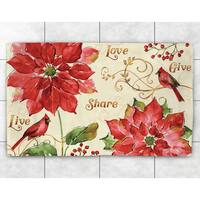 Red Poinsettia Accent Rug