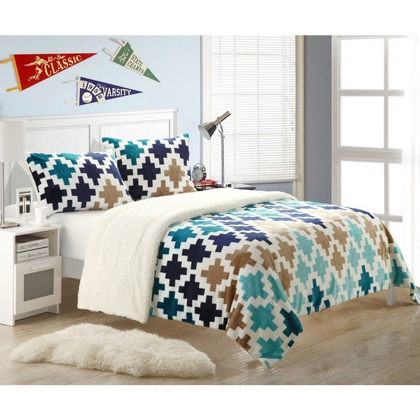 Chic Home Mia 7-Piece Plush Microsuede Printed Sherpa Bed in a Bag