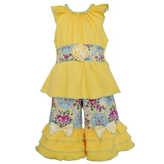 AnnLoren Girl's Boutique Yellow Cotton Tunic and Floral Damask Capri Outfit
