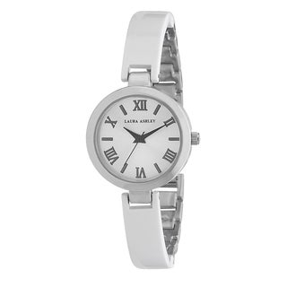 Laura Ashley Ladies White/ Silver Resin Link Watch