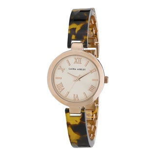 Laura Ashley Ladies Tortoise/ Rose Gold Resin Link Watch