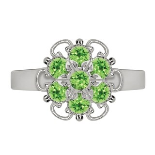 Lucia Costin Sterling Silver Light Green Crystal Ring