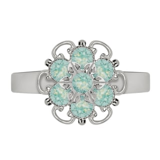 Lucia Costin Sterling Silver Mint Blue Crystal Adjustable Ring
