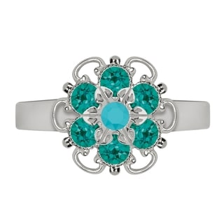 Lucia Costin Sterling Silver Turquoise/ Turquoise Green Crystal Ring