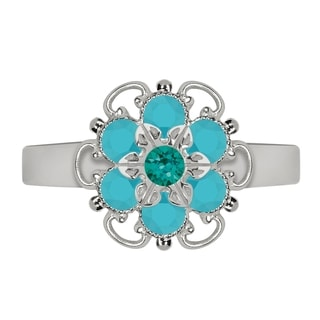 Lucia Costin Sterling Silver Turquoise Green/ Turquoise Crystal Flower Ring