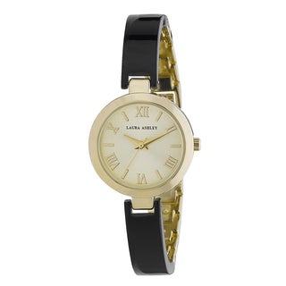 Laura Ashley Ladies Black/ Gold Resin Link Watch