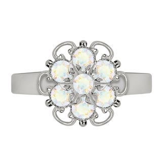 Lucia Costin Sterling Silver White Crystal Twisted Accent Ring