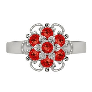 Lucia Costin Sterling Silver Red Crystal Ring