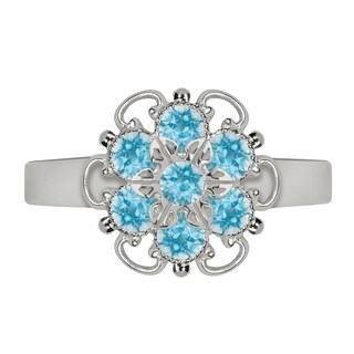 Lucia Costin Sterling Silver Light Blue Crystal Adjustable Ring