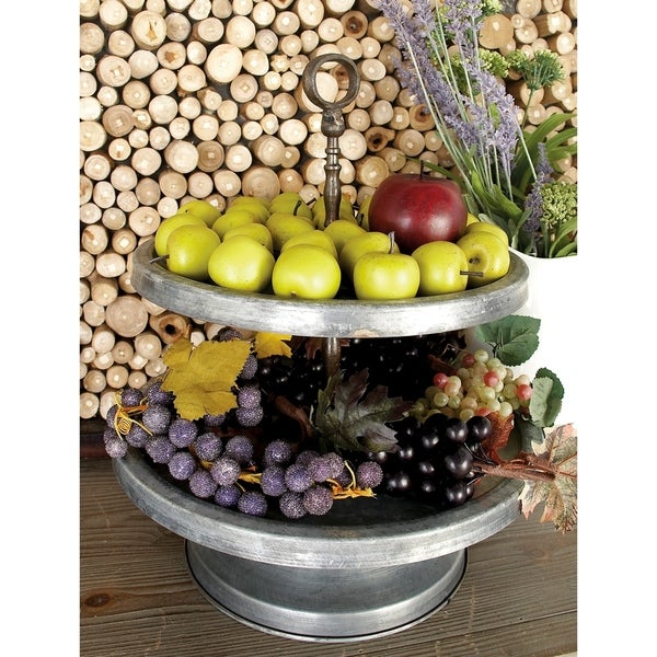 Farmhouse 17 x 15 Inch Metal Two-Tier Tray Stand by Studio 350