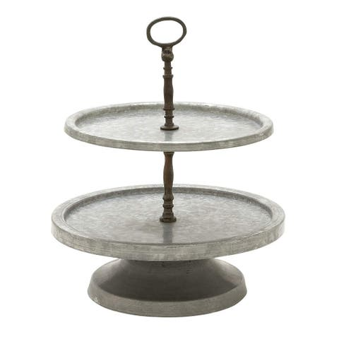 Two Tiered Galvanized Metal Stand with Handle, Gray and Brown