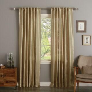 Aurora Home Metallic Shimmer Linen Foil Curtain Panel Pair