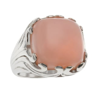 Sterling Silver 5.56ct 14mm Cushion Shaped Pink Opal Textured Ring