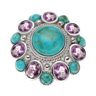 Sterling Silver 10.33ct Round Turquoise and Brazilian Amethyst Flower ring
