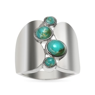 Sterling Silver 3.07ct Round Turquoise Wide Band Ring