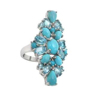 Sterling Silver 7.57ct Sleeping Beauty Turquoise and Blue Topaz Ring