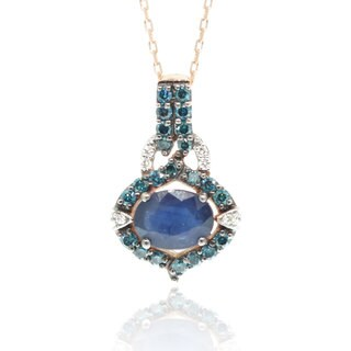 Suzy Levian 14K Rose Gold Sapphire Blue and White Diamond Pendant