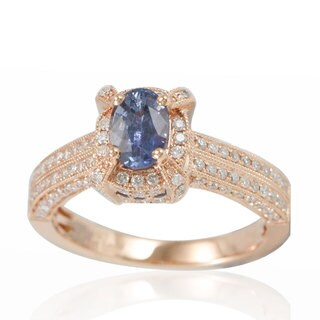 Suzy Levian 14K Rose White Diamonds Ceylon Sapphire Ring - Blue