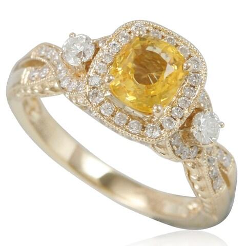 Suzy Levian 14K Yellow Gold Yellow Sapphire and Diamond Ring