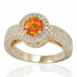 Suzy Levian 14K Yellow Gold Orange Sapphire and Diamond Ring