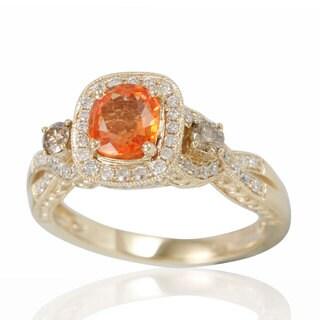 Suzy Levian 14K Yellow Gold Natural Orange Sapphire and Diamond Ring - Brown/Orange