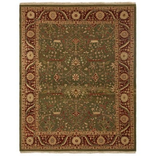 Safavieh One of a Kind Collection Hand-Knotted Agra Green/ Red Wool Rug (8' x 10'2)