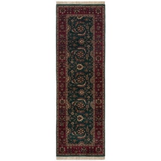 Safavieh One of a Kind Collection Hand-Knotted Indo Tabriz Runner Green/ Maroon Wool Runner (2'6 x 8')