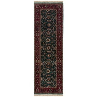 Safavieh One of a Kind Collection Hand-Knotted Indo Tabriz Runner Green/ Maroon Wool Runner (2'6 x 8 - 0