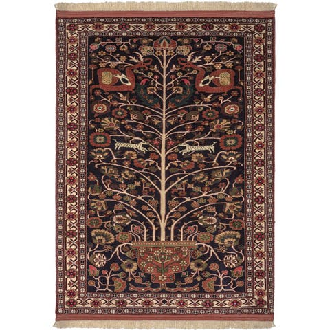 Safavieh One of a Kind Collection Hand-Knotted Persian Ghochan Navy/ Rust Wool Rug (4'5 x 5'11) - 0