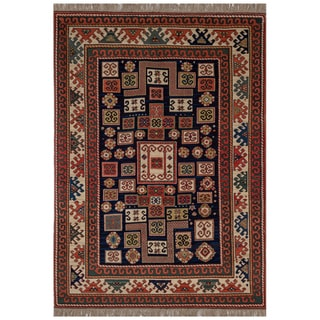 Safavieh One of a Kind Collection Hand-Knotted Kazak Red/ Multi Wool Rug (5'6 x 7')