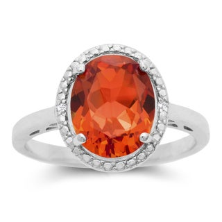 2 3/4 Carat Created Oval Padparadscha Sapphire and Halo Diamond Ring In Sterling Silver