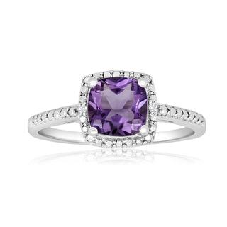 1 3/4 TGW Cushion Cut Amethyst and Diamond Ring in Sterling Silver - Purple