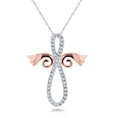 Annello by Kobelli 10k White and Rose Gold 1/5ct TDW Diamond Angel Wings Cross Necklace