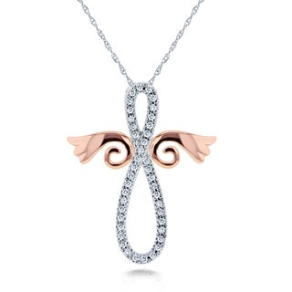 Annello by Kobelli 10k White and Rose Gold 1/5ct TDW Diamond Angel Wings Cross Necklace (