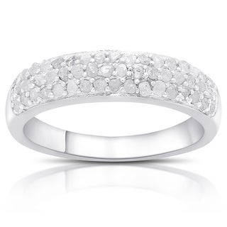Finesque Gold Over Silver or Sterling Silver 1/2ct TDW 3-row Diamond Ring (I-J, I2-I3)